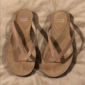 Eileen fisher flip flops, suede sandals